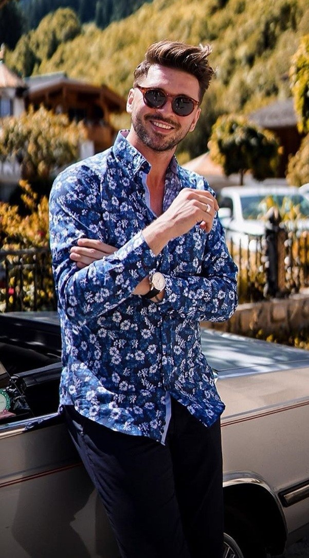 Stunning Blue Printed Shirt Outfits for Men