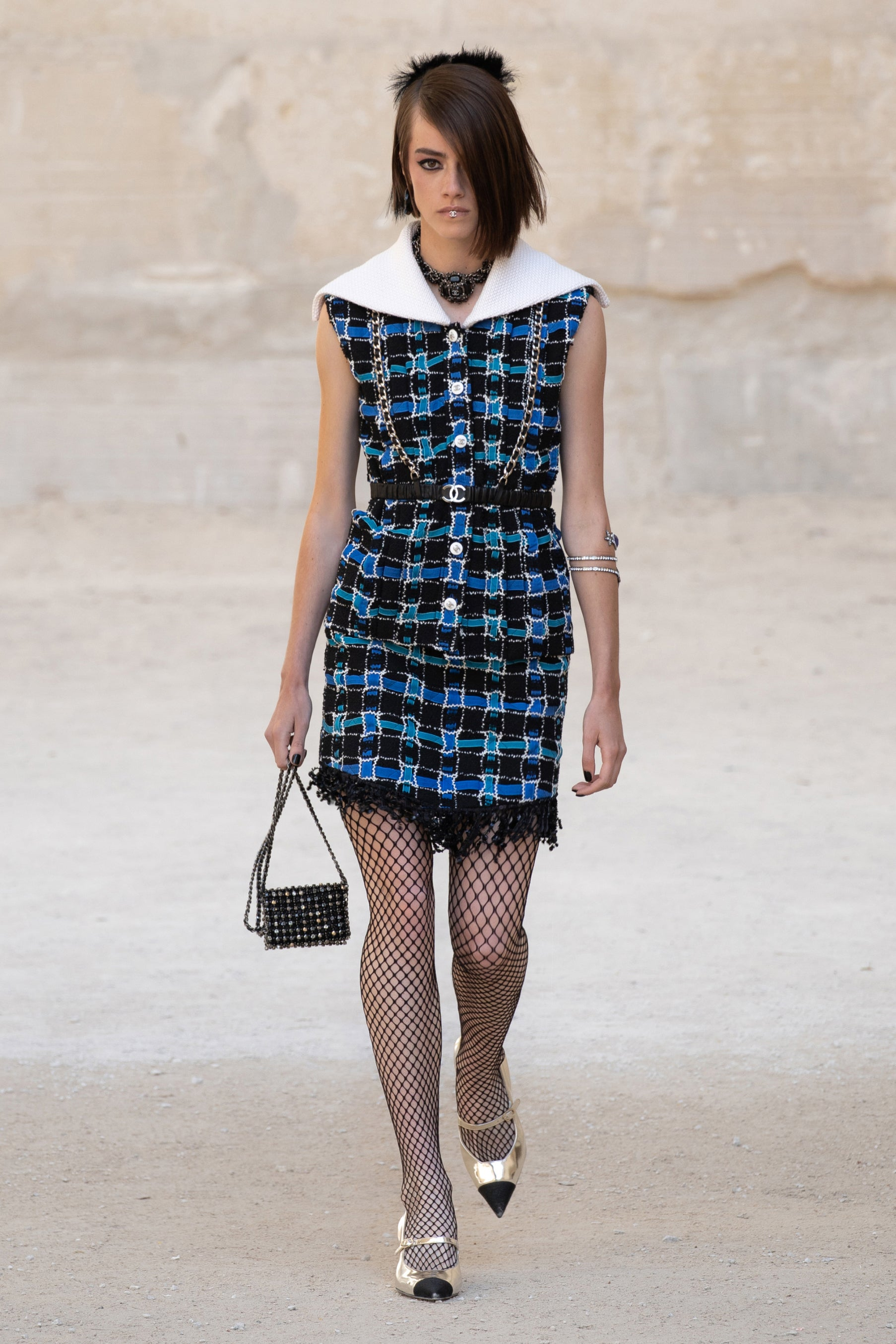 Chanel's Punk-Inspired Show Featured Garter Bags, Harnesses & Fishnets