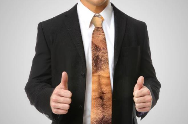 Hairy chest tie.